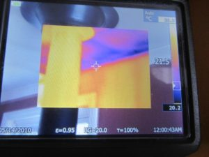 Thermal Imaging view of heat loss in ceiling