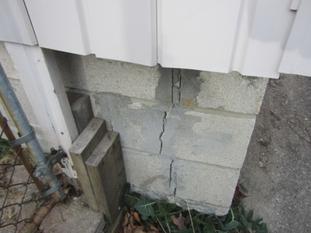Masonry block foundation cracks found during Home Inspection in Barrie