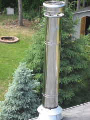 Stainless Steel Chimney Requires Support Brackets found by Barrie Home Inspections