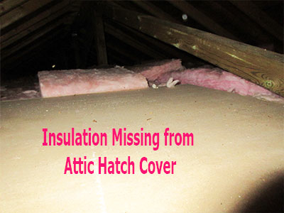Insulation found Missing on Attic Hatch by Barrie Home Inspections