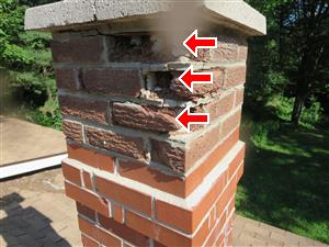 Cracked Cap and Deteriorating Brick on Chimney found by Barrie WETT Certified Inspector