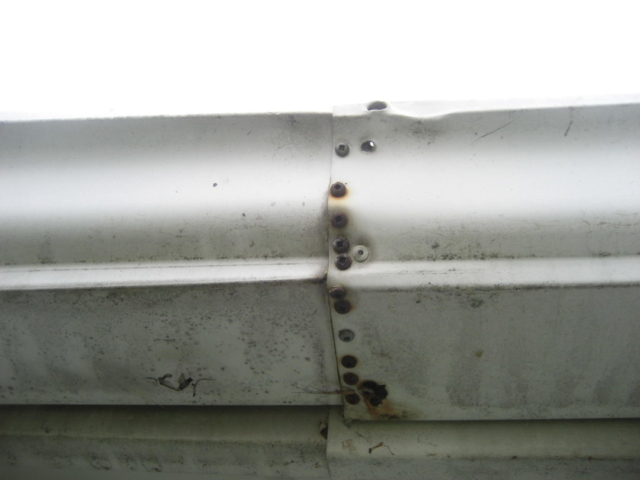 Repaired Gutter Joint still Leaking found by Barrie Home Inspections