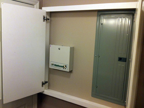 Panel boards are not permitted to be installed in bathrooms.  No permit for this job.
