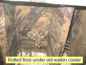 Floor is Rotted under Leaking Cooler found by Barrie Home Inspections