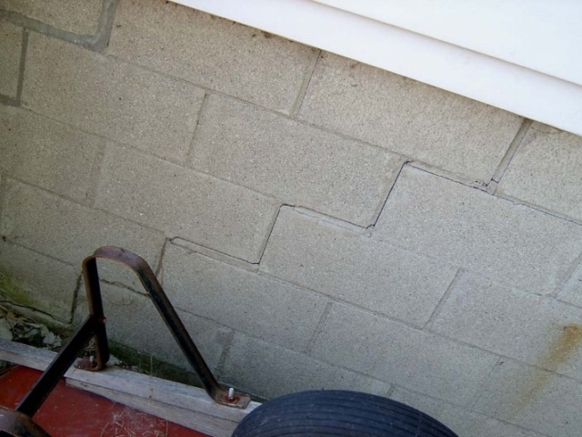 Step Crack in Masonry Foundation Wall