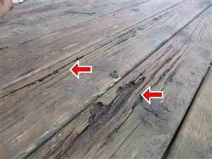 Rotting Deck Boards - Barrie Home Inspection